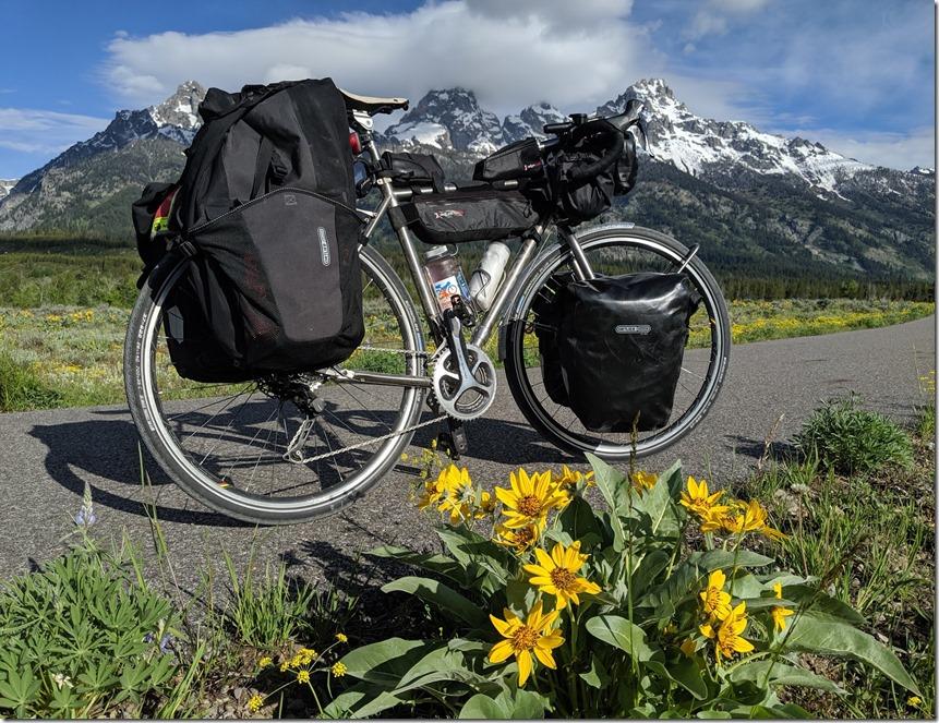 tetons bike flowers